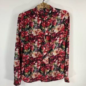 Floral Ruffle front Button Up Silky Blouse Small